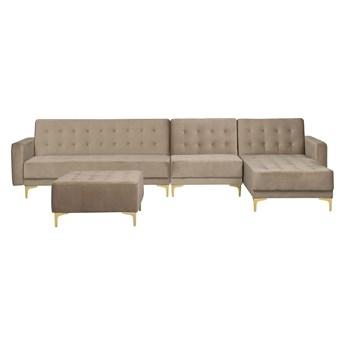 Narożnik rozkładany beżowy welurowy modułowy 5-osobowy z otomaną nowoczesna pikowana piaskowa sofa do salonu z szezlongiem lewostronna