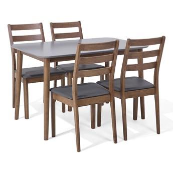 Zestaw mebli do jadalni 4-osobowy drewniany szary stół 118 x 77 cm 4 krzesła ekoskóra
