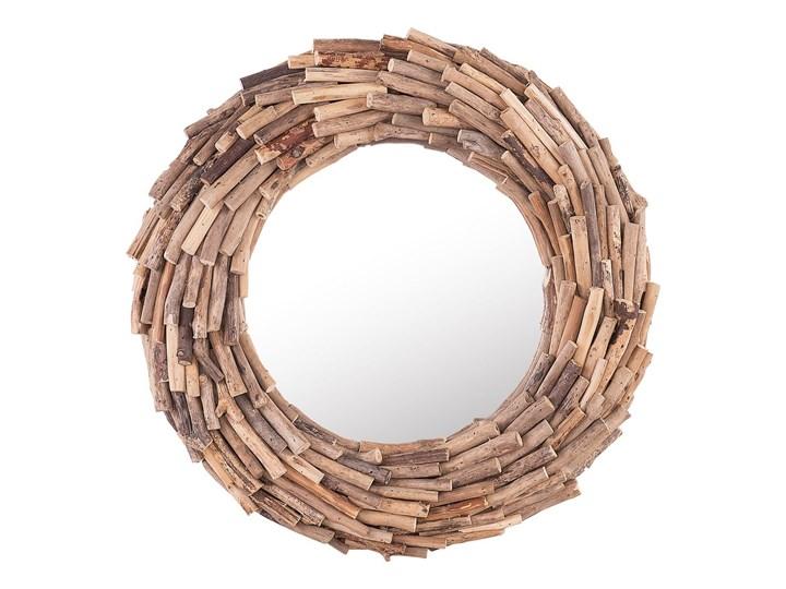 Dekoracyjne lustro ścienne jasne drewno ø 56 okrągłe cm rama styl rustykalny Kategoria Lustra Lustro z ramą Pomieszczenie Salon
