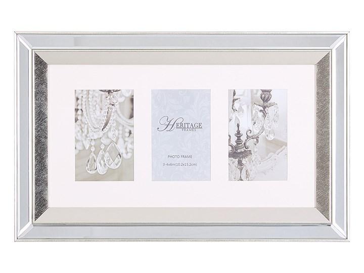 Multiramka srebrna lustrzana 32 x 50 cm na zdjęcia 3 fotografie 10 x 15 cm kolaż wisząca Kategoria Ramy i ramki na zdjęcia Pomieszczenie Sypialnia
