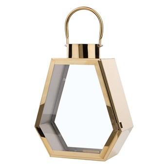 Lampion dekoracyjny mosiężny metalowy geometryczny 46 cm ozdobna latarnia na świecę
