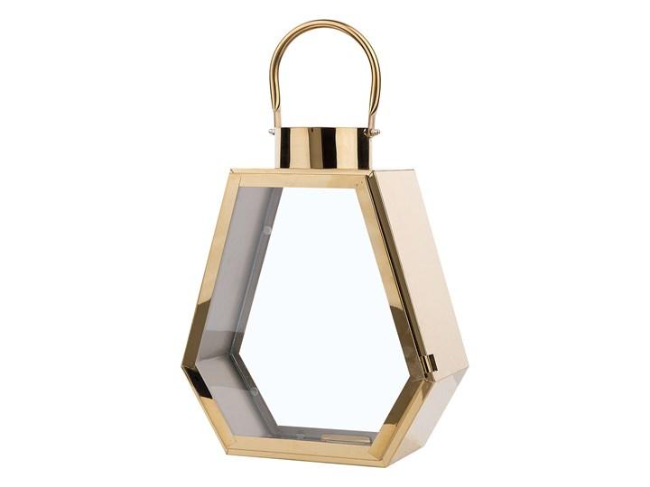 Lampion dekoracyjny mosiężny metalowy geometryczny 46 cm ozdobna latarnia na świecę Stal Kategoria Świeczniki i świece