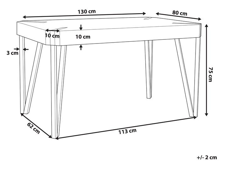 Stół do jadalni jasne drewno czarne metalowe nogi 130 x 90 cm prostokątny styl industrialny Płyta MDF Długość 130 cm  Styl Rustykalny Pomieszczenie Stoły do jadalni