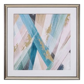 Obraz w ramie wielokolorowy wydruk na papierze 60 x 60 cm abstrakcja dekoracja ścienna
