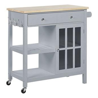 Wózek kuchenny szary MDF jasne drewno z szufladami, półkami szafką na kółkach do serwowania