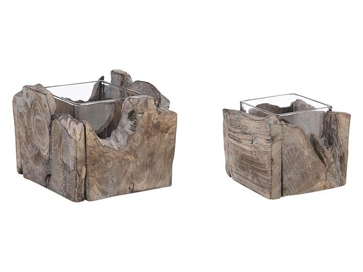 Zestaw 2 świeczników ciemne drewno postarzony ręcznie wykonany naturalny rustykalny