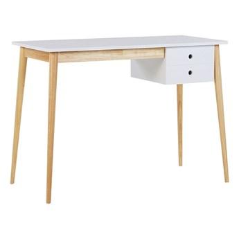 Biurko białe jasne drewniane nogi 106 x 48 cm z szufladą małe styl retro