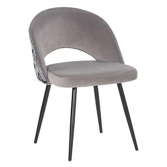 Zestaw 2 krzeseł do jadalni szary welurowe z metalowymi nogami wzór roślinny oparcie z wycięciem