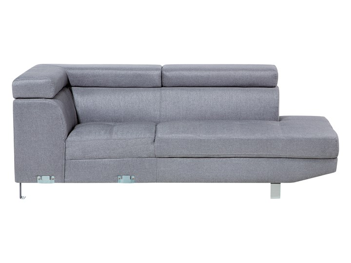 Narożnik lewostronny jasnoszary tapicerowany 5 osobowa sofa z regulowanymi zagłówkami Szerokość 261 cm Styl Nowoczesny