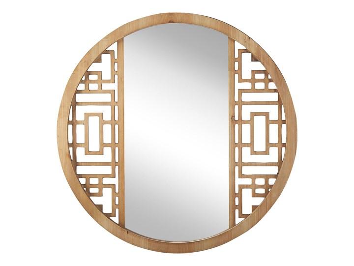 Lustro ścienne jasne drewno okrągłe 60 cm ręcznie wykonane geometryczna rama rustykalne Lustro z ramą Styl Nowoczesny
