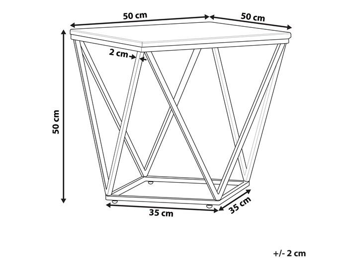 Stolik kawowy biały kwadratowy blat złota metalowa rama 50 x 50 cm efekt marmuru Zestaw stolików Płyta MDF Styl Nowoczesny