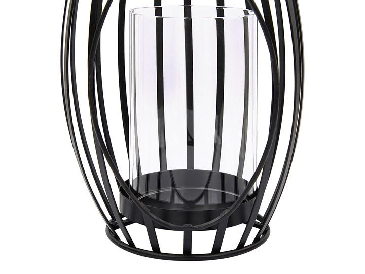 Lampion metalowy ażurowy 38 cm świecznik szklany dekoracja na stół industrialna Szkło Kolor Czarny