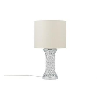Lampa stołowa srebrna metalowa 55 cm ażurowa kryształy dekoracyjna glamour