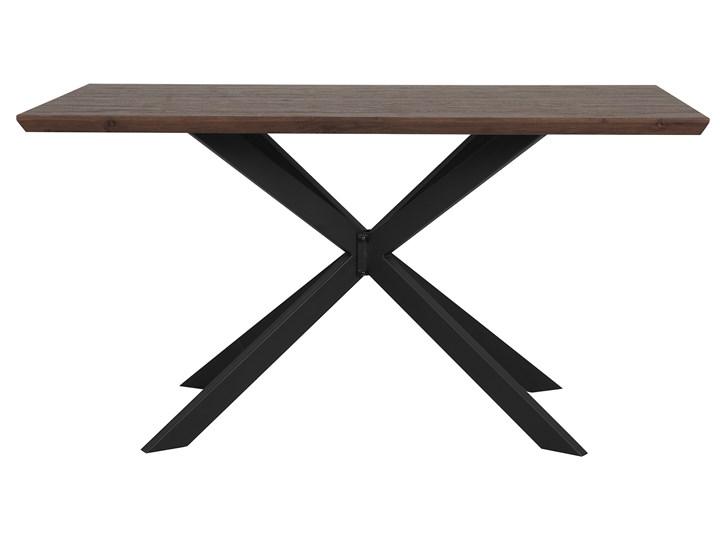 Stół obiadowy ciemny drewniany blat metalowe czarne nóżki prostokątny 140 x 80 cm nowoczesny wygląd Długość 140 cm  Rozkładanie Płyta MDF Drewno Styl Industrialny