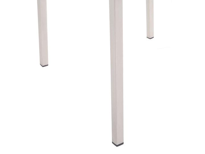 Zestaw mebli ogrodowych jadalniany czarny stół granit/bazalt 180 x 90 cm 6 krzeseł szarych tekstylnych sztaplowanych Stal Styl Nowoczesny Tworzywo sztuczne Stoły z krzesłami Kategoria Zestawy mebli ogrodowych