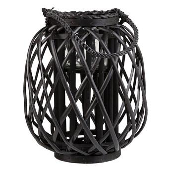 Lampion dekoracyjny czarny drewniany 30 cm ozdobna latarnia na świecę