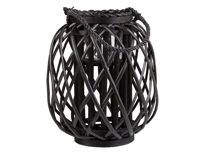 Lampion dekoracyjny czarny drewniany 30 cm ozdobna latarnia na świecę Drewno Szkło Kategoria Świeczniki i świece