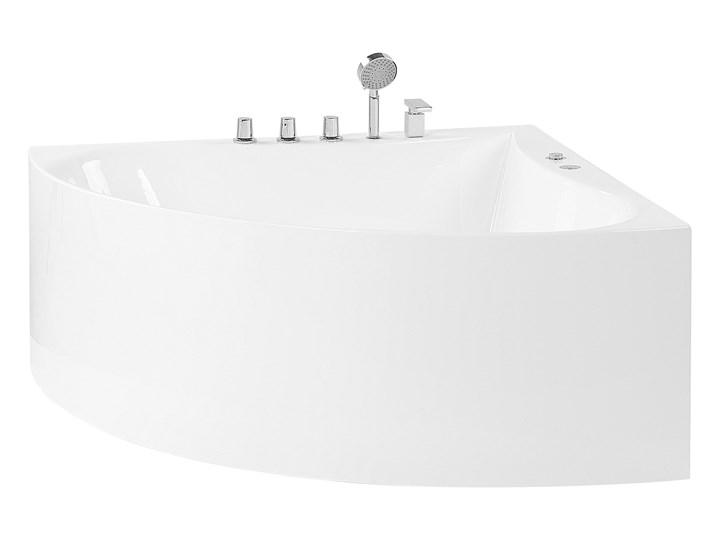 Wanna narożna z hydromasażem biała akrylowa 133 x 187 cm nowoczesna Retro Kolor Biały Kategoria Wanny