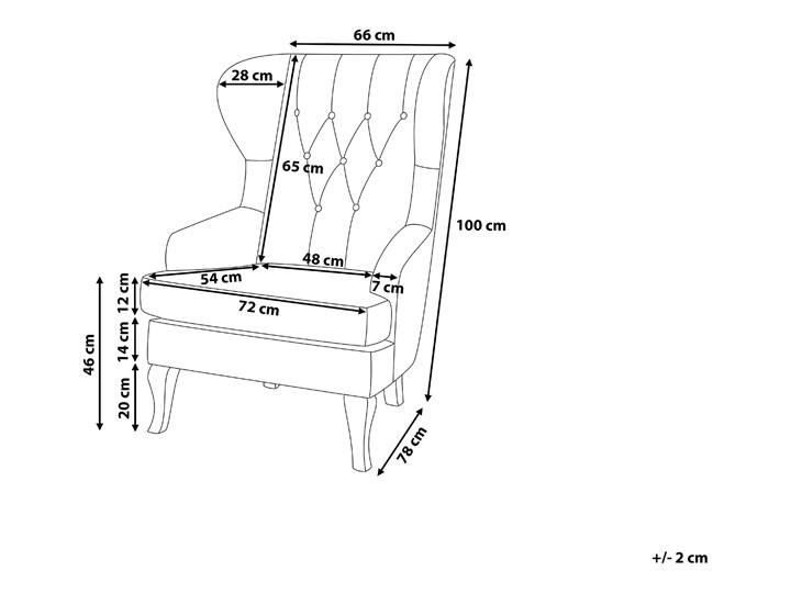 Fotel uszak beżowy tapicerowany pikowany wysokie oparcie vintage retro salon Tkanina Szerokość 66 cm Głębokość 78 cm Tworzywo sztuczne Drewno Fotel tradycyjny Wysokość 100 cm Fotel pikowany Kategoria Fotele do salonu