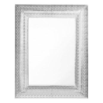 Lustro ścienne wiszące srebrne 70 x 90 cm prostokątne vintage retro sypialnia salon łazienka