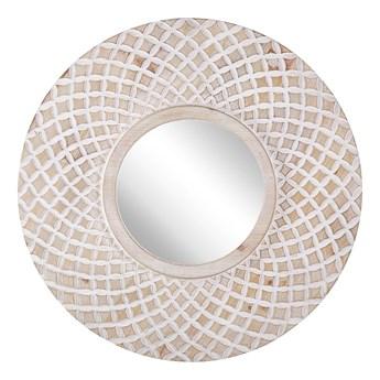 Lustro ścienne jasne drewno okrągłe 60 cm ręcznie wykonane geometryczny wzór marokańska koniczyna boho rustykalne