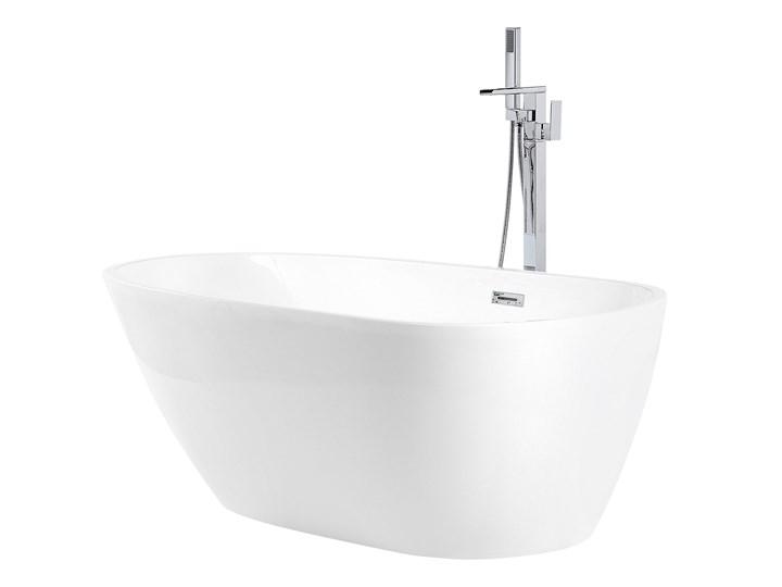 Wanna wolnostojąca biała akrylowa 170 x 80 cm owalna zaokrąglona nowoczesny design Wolnostojące Kolor Biały