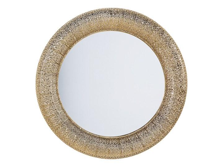 Lustro wiszące ścienne złote 80 cm Lustro z ramą Okrągłe Styl Vintage
