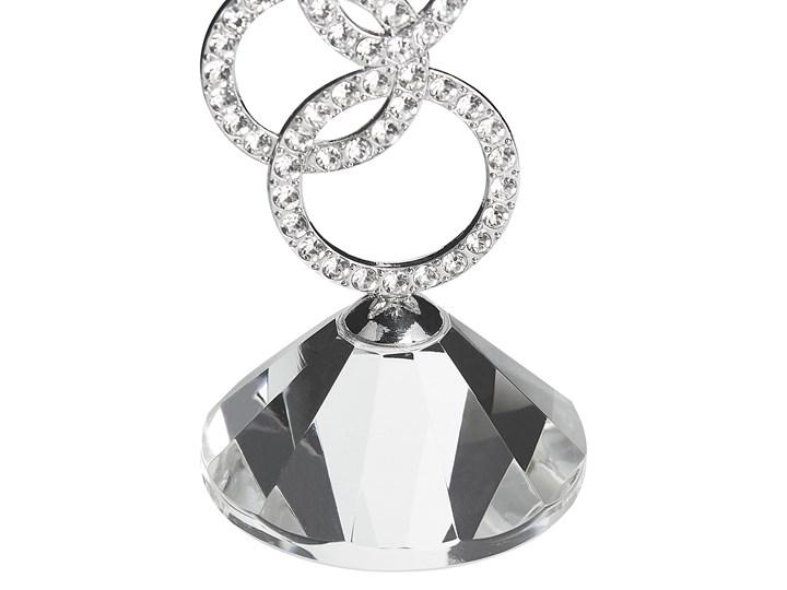 Świecznik srebrny metalowy 25 cm glamour kryształowy kwiat Szkło Kategoria Świeczniki i świece