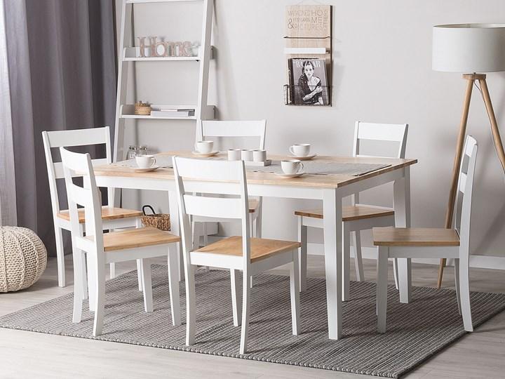 Stół do jadalni jasne drewno z białym 150 x 90 cm prostokątny styl skandynawski Pomieszczenie Stoły do jadalni Długość 150 cm  Rozkładanie