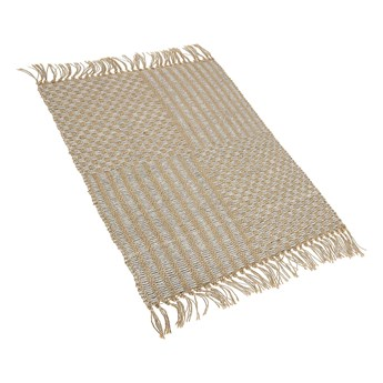 Dywan beżowy jutowy 50 x 80 cm tkany ręcznie z frędzlami styl boho do przedpokoju sypialni