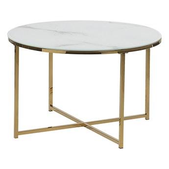 Stolik kawowy okrągły efekt marmuru biały złota baza 70 cm styl glam nowoczesny minimalistyczny