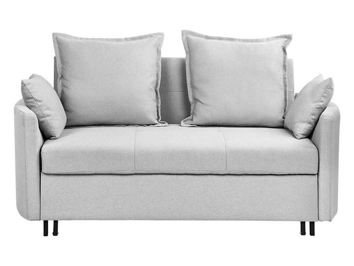 Sofa rozkładana jasnoszara dwuosobowa tapicerowana kanapa nowoczesna do salonu pokoju z funkcją spania metalowe czarne nogi Typ Gładkie
