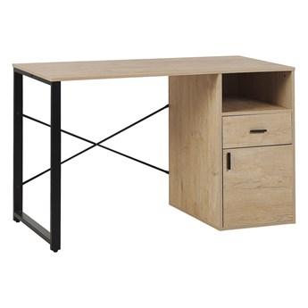 Biurko do biura domowego jasne drewno metalowa rama 120 x 60 cm przechowywanie szuflada szafka półka blat z tworzywa