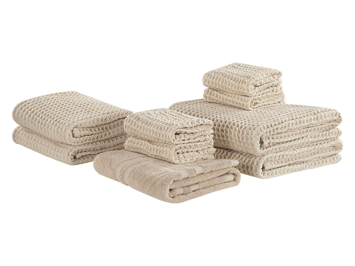 Komplet 9 ręczników beżowy bawełna low twist ręczniki dla gości do rąk kąpielowy i mata łazienkowa