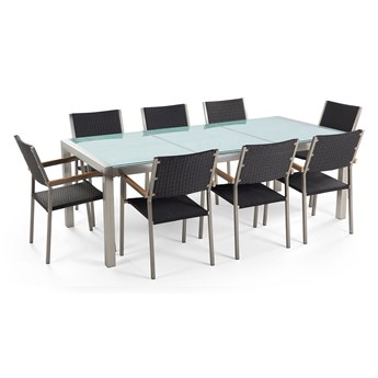 Zestaw ogrodowy stół z krzesłami blat szkło hartowane efekt tłuczonego szkła 220 x 100 cm 6 krzeseł czarnych z technorattanu sztaplowanych