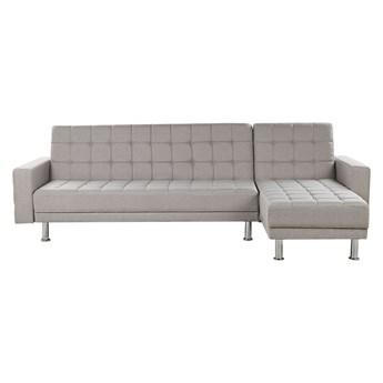Narożnik rozkładany jasnoszary tapicerowany pikowany z funkcją spania sofa 4-osobowa dwustronny szezlong