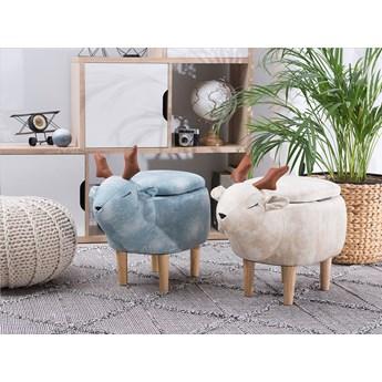 Pufa zwierzak beżowy materiał renifer ze schowkiem drewniane nóżki pokój dla dzieci