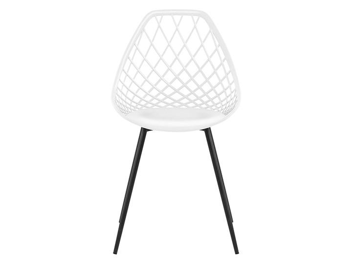 Zestaw 2 krzeseł białych tworzywo sztuczne czarne metalowe nogi styl nowoczesny skandynawski Styl Vintage Kolor Czarny