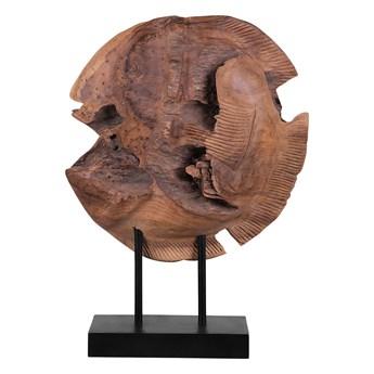 Figurka dekoracyjna ryba jasne drewno tekowe 41 x 31 cm styl rustykalny