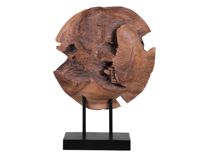 Figurka dekoracyjna ryba jasne drewno tekowe 41 x 31 cm styl rustykalny Ryby Rośliny Kategoria Figury i rzeźby Zwierzęta Kolor Brązowy