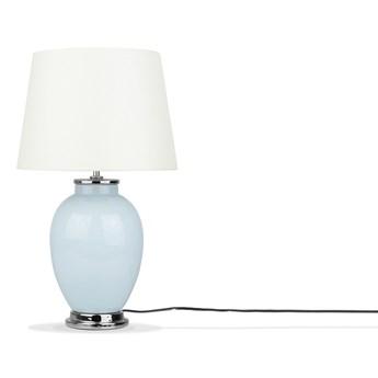 Lampa stołowa jasnoniebieska biała ceramiczna 45 cm wysoki połysk retro