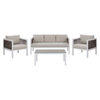Zestaw mebli ogrodowych biały 5 osobowy z szarymi poduchami sofa i 2 fotele ze stołem