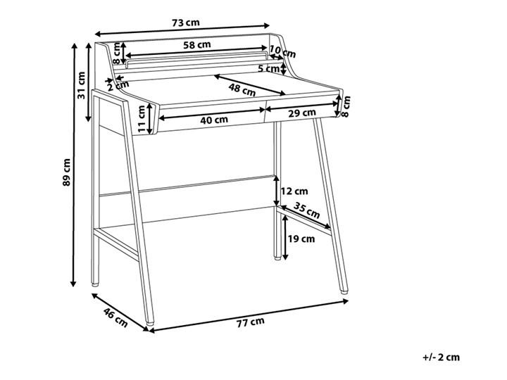 Małe biurko jasnobrązowe 73 x 48 cm z nadstawką i szufladami na stalowej ramie Szerokość 72 cm Biurko z nadstawką Drewno Płyta MDF Szerokość 77 cm Biurko komputerowe Pomieszczenie Biuro