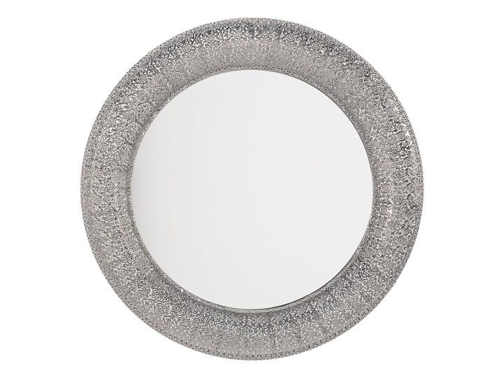 Lustro wiszące ścienne srebrne 80 cm Kategoria Lustra Lustro z ramą Okrągłe Kolor Srebrny