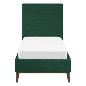 Łóżko ze stelażem zielone welurowe 90 x 200 cm z zagłówkiem styl retro