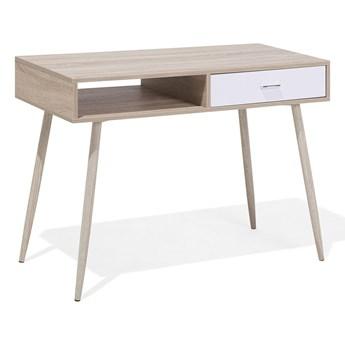 Biurko jasnobrązowe 100 x 48 cm w stylu skandynawskim z szufladami pod laptop