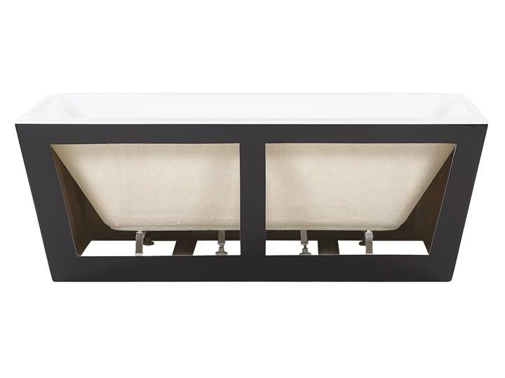 Wanna czarna akrylowa 170 x 80 cm system przelewowy prostokątna minimalistyczny design Symetryczne Kolor Czarny Kategoria Wanny