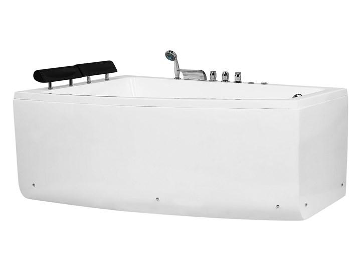 Wanna narożna biała akrylowa 182 x 121 cm prawostronna hydromasaż dysze wodne z zagłówkami Kolor Biały Stal Kategoria Wanny