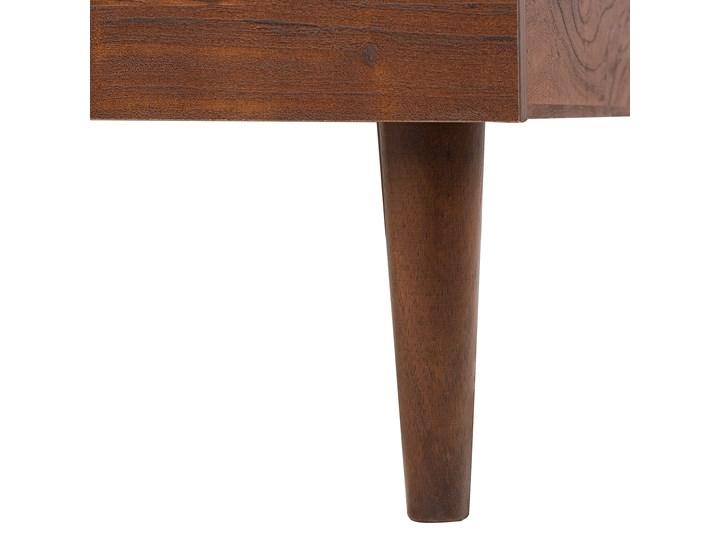 Łóżko ze stelażem ciemne drewno 140 x 200 cm wysokie wezgłowie rustykalny design ramy Łóżko drewniane Kategoria Łóżka do sypialni Kolor Brązowy