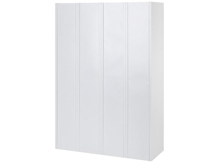Szafa ubraniowa biała metalowa 120 x 45 x 180 cm 4 drzwi na kluczyk z półkami i drążkiem Kolor Biały Uniwersalne Pomieszczenie Biuro i pracownia